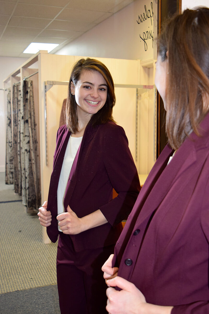 My Sister's Closet - Someone finding a great suit for an interview