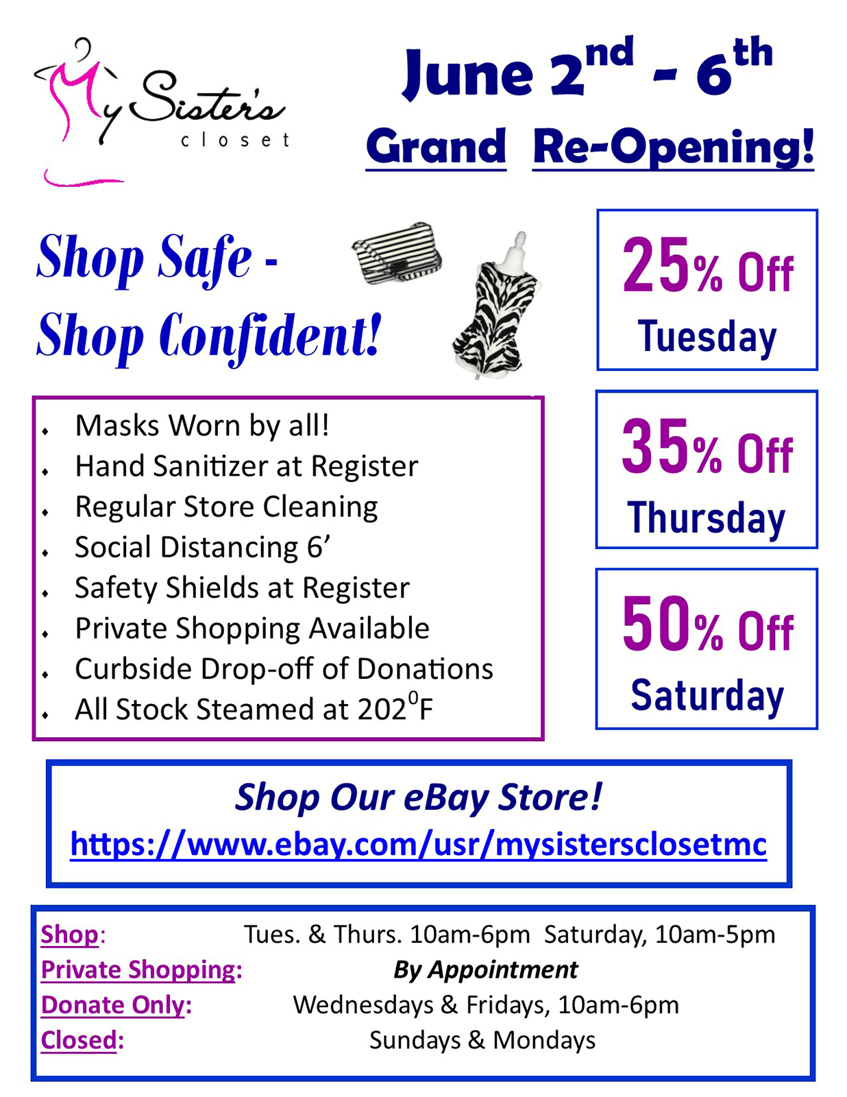 My Sister's Closet - Reopening Sale June 2 - 6