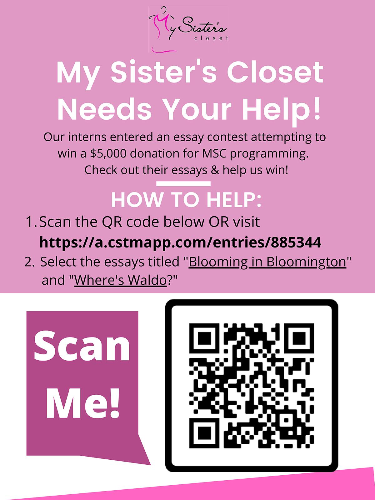 My Sister's Closet Essay Contest Ad 2021